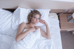 Beautiful woman top view - wake up in morning bed Royalty Free Stock Image