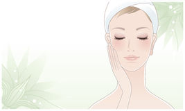 Beautiful Woman Touching Her Face On Lotus Flower Royalty Free Stock Images