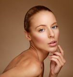 Beautiful Woman Touching her Face. Perfect Fresh Skin. Pure Beau Royalty Free Stock Image