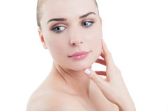 Beautiful woman touching her perfect skin face Stock Image