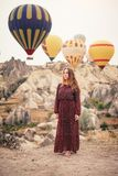 Beautiful woman tourist have vacation in Cappadocia royalty free stock image