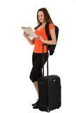 A beautiful woman tourist with a map in hand luggage isolated on Stock Photo