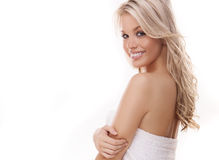 Beautiful woman with tousled blond hair Stock Photos
