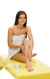 Beautiful Woman With Towel. Beautiful woman with a towel for spa concept on white Royalty Free Stock Photo
