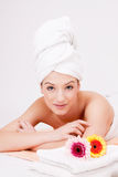 Beautiful woman with towel relaxation massage Royalty Free Stock Image