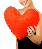 Beautiful woman with toy heart. Stock Photos