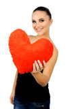 Beautiful woman with toy heart. Stock Photography