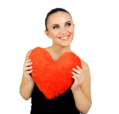 Beautiful woman with toy heart. Royalty Free Stock Photo