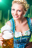 Beautiful woman in a traditional bavarian dirndl with a beer. Beautiful woman in a traditional bavarian dirndl stock images