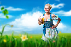 Beautiful woman in a traditional bavarian dirndl. With a beer in a meadow royalty free stock photos