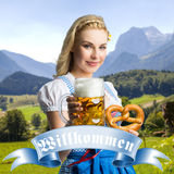 Beautiful woman in a traditional bavarian dirndl Stock Image
