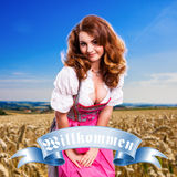Beautiful woman in a traditional bavarian dirndl. In front of a crop field royalty free stock photos