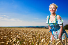 Beautiful woman in traditional bavarian dirndl. Beautiful woman in a traditional bavarian dirndl in front of a crop field royalty free stock image