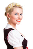 Beautiful woman in a traditional bavarian dirndl. Isolated on white royalty free stock photos
