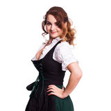 Beautiful woman in a traditional bavarian dirndl. Isolated on white royalty free stock photo