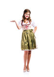 Beautiful woman in traditional bavarian dress, studio shot, isol Stock Images