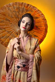 Beautiful woman in traditional japanese kimono. Royalty Free Stock Photography