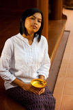 Beautiful Woman on Traditional Thai Porch Royalty Free Stock Photos