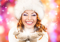 A beautiful woman in traditional winter clothes Royalty Free Stock Images