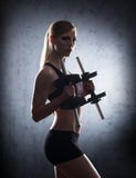 Beautiful woman trainig with dumbbells Royalty Free Stock Photography