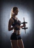 Beautiful woman trainig with dumbbells Stock Image