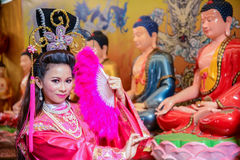 Beautiful woman with traitional chinese pink dress Royalty Free Stock Image