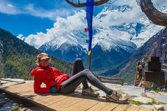 Beautiful Woman Traveler Backpacker Take Rest Mountain Terrace Village.Young Girl Posing Smiling Camera.North Snow Peaks Stock Photos