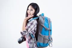 Beautiful woman traveler Royalty Free Stock Photography