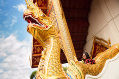Beautiful woman traveller travel in Buddha Thailand temple Stock Photography