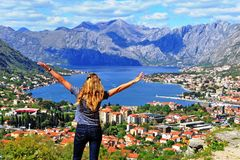 Beautiful woman travelling in balkans. Montenegro royalty free stock photo