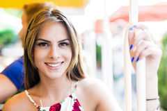 Beautiful woman travelling on a scenic railway. And enjoying herself royalty free stock photography
