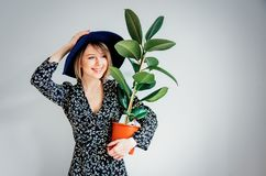 Beautiful woman in trendy dress with plant in a pot. Stay near white wall at home royalty free stock images