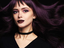 Beautiful woman with trendy hair coloring. Fashion Portrait of beautiful young woman with long healthy hair.trendy hair coloring Royalty Free Stock Images