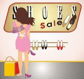 Beautiful woman tries on a shoes. A beautiful woman tries on a shoes. Vector Royalty Free Stock Photos