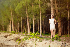 Beautiful woman in tropic forest Stock Photos