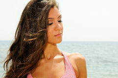 Beautiful woman on a tropical beach Royalty Free Stock Images