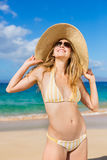 Beautiful Woman on Tropical Beach Royalty Free Stock Photo