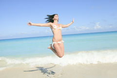 Beautiful woman on a tropical beach cuba. A beautiful woman on a tropical beach cuba Stock Photography