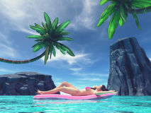 Beautiful woman on tropical beach. Beautiful woman relaxing on inflatable mattress in the sea,surrounded by palm trees and tropical rocks. This is a 3d render Royalty Free Stock Photography