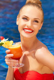 Beautiful woman with tropical cocktail Royalty Free Stock Images