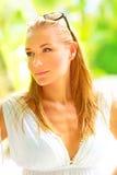 Beautiful woman on tropical resort Royalty Free Stock Photos