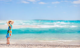 Beautiful woman on a tropical vacation. Panoramic photo of beautiful woman on a tropical vacation Stock Photo
