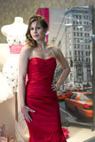 Beautiful woman try on a dress Royalty Free Stock Photos