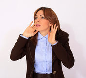 Beautiful Woman Trying To Hear Royalty Free Stock Photos