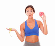 Beautiful woman trying weight loss diet Royalty Free Stock Photos