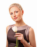 Beautiful woman with the tulip royalty free stock photo