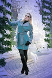 The beautiful woman in a turquoise coat at the columns braided b. Y fir-tree branches, a subject the woman and holidays Christmas and New Year Stock Image