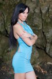 Beautiful woman in turquoise dress Royalty Free Stock Photos