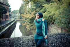 Beautiful woman with turtleneck in the city Royalty Free Stock Photos