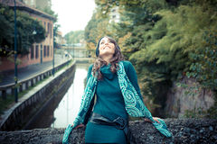 Beautiful woman with turtleneck in the city Stock Image